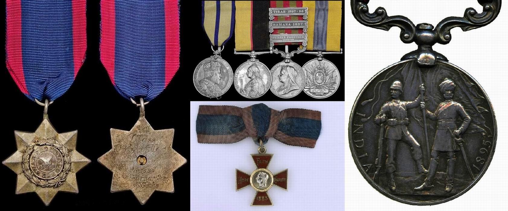Слева – индийский Орден заслуг 3й степени. По центру внизу - Королевский красный крест. Такой получила Тереза МакГрат. По центру сверху – награды Чарльза Де Воэ: «Делийский дурбар 1903г», «Суданская медаль Королевы», «Индийская медаль» с 3 пристежками за Тирахскую экспедицию, оборону Саманы и Пенджабскую границу , «Суданская медаль Хедива». Справа – реверс Индийской медали.