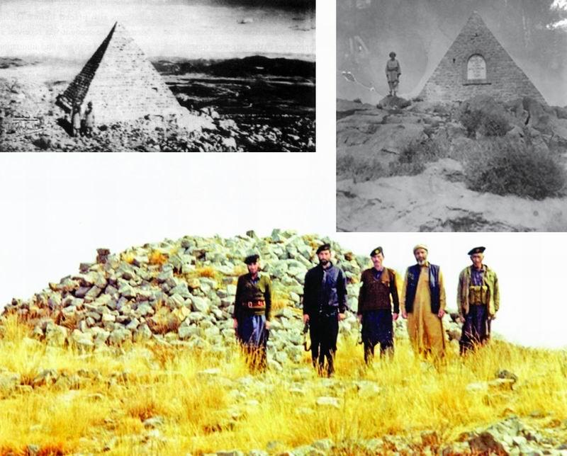 Каирн (тур, гурий, пирамида из камней) в честь защитников Сарагархи в начале и конце ХХ века.