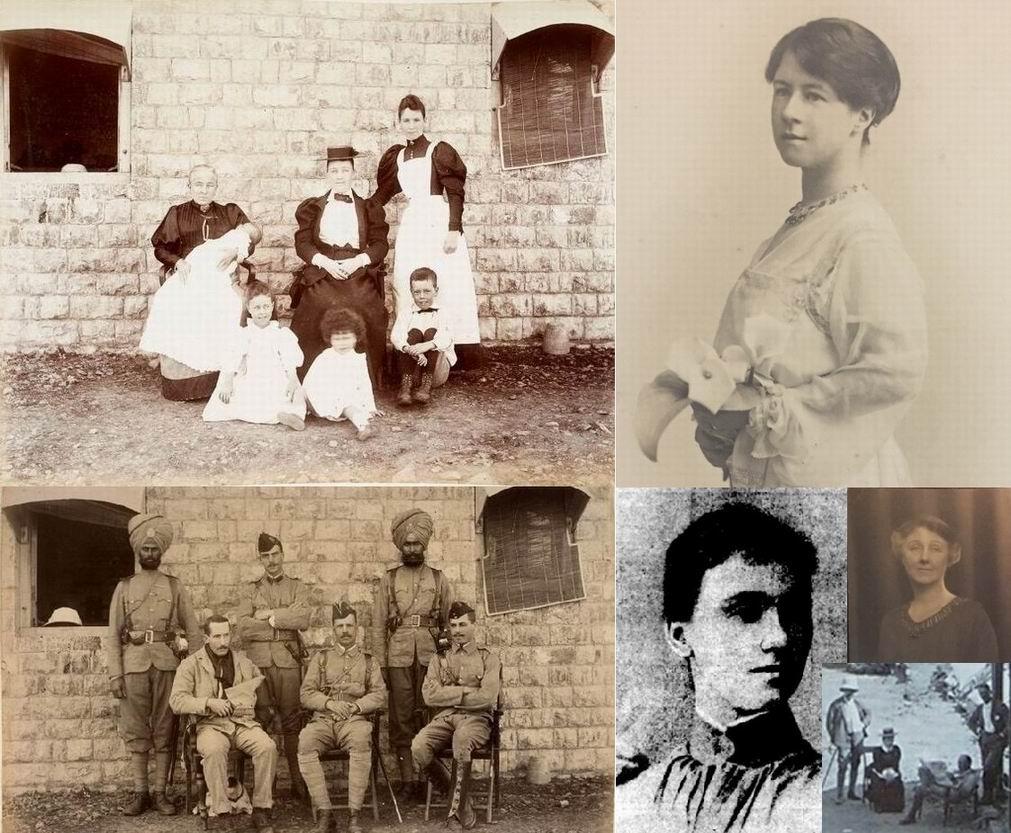 Слева вверху - Миссис Де Воэ с детьми во время осады Гюлистана (видно, что снимали на одном и том же месте). Справа сверху - подросшая Алиса Де Воэ, справа внизу две фотографии Элеаноры Де Воэ и часть фотографии форта Гюлистан.