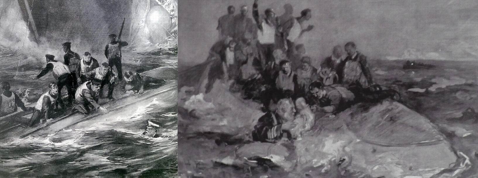 Рисунки, изображающие различные версии гибели капитана Смита.