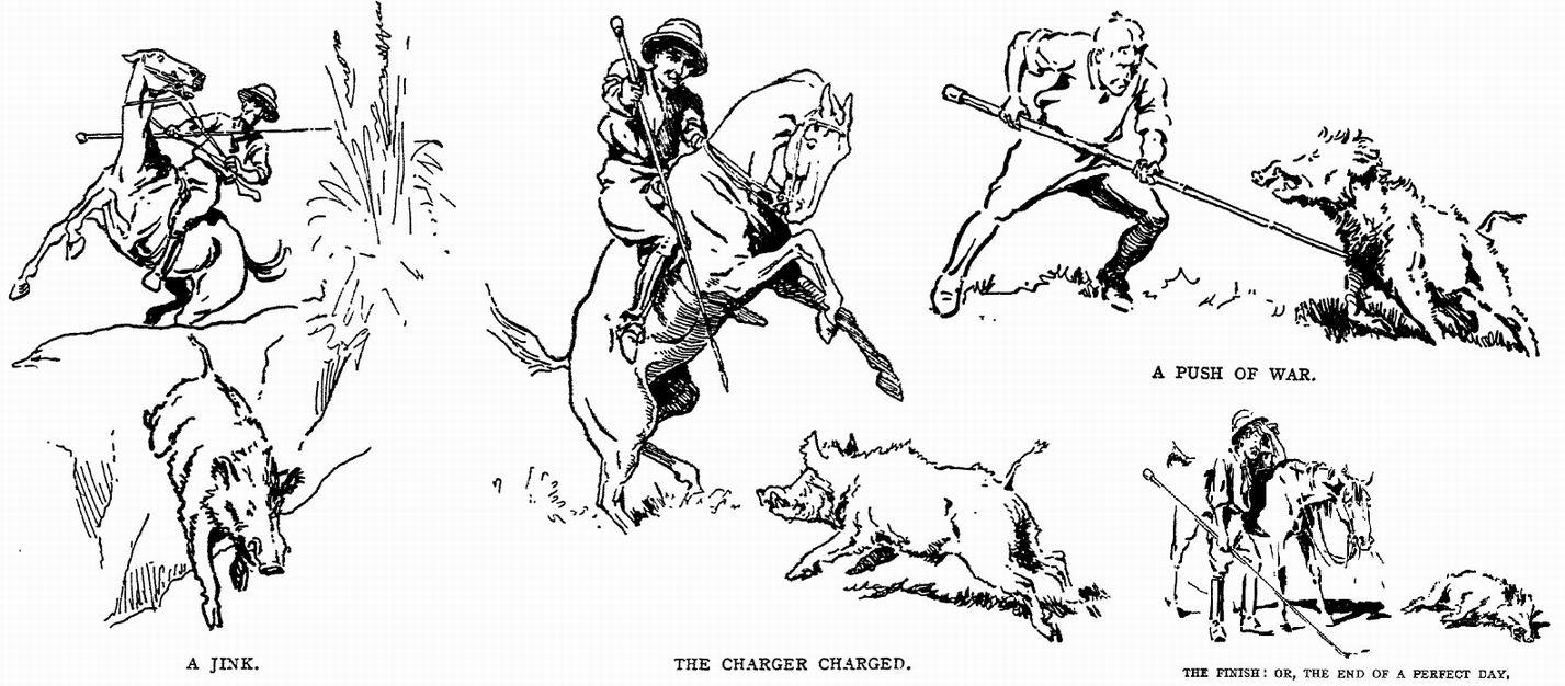 Некоторые ситуации были, видимо, настолько типичны, что многие рисунки из книг по кабаньей охоте нарисованы как будто специально для книги Инголла.