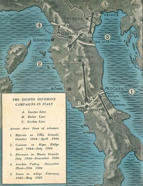 Боевой путь 8й дивизии в Италии.