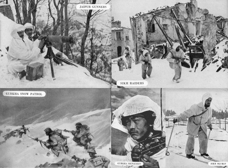 Солдаты 8й дивизии. Такие кадры не ассоциируются ни с Индией, ни с Италией, но именно так там и воевали.