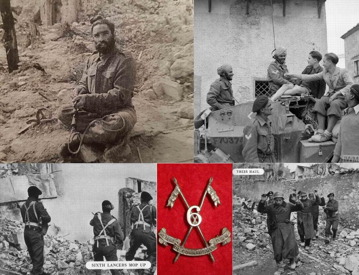Бойцы 6го уланского полка. Сверху слева - ланс-даффадар Тара Сингх чистит пистолет, Черваро, Италия, март 1944г. Сверху справа - уланы 6го в Сан Феличе, Италия, ноябрь 1943г.