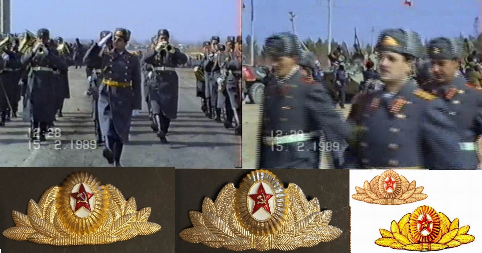 Внизу слева - обр.1969. По центру - обр. 1975г. Справа - рисунки кокарды из Правил ношения 1969 и 1988гг.