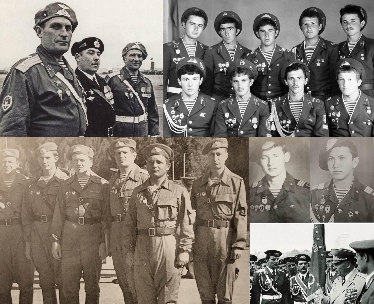 Примеры ношения кокарды для парадной фуражки на беретах - парады, учения, дембелизм. На фотографии вверху слева – офицеры на параде 1968г., но кокарды уже те, что будут утверждены для всех в 1969г.