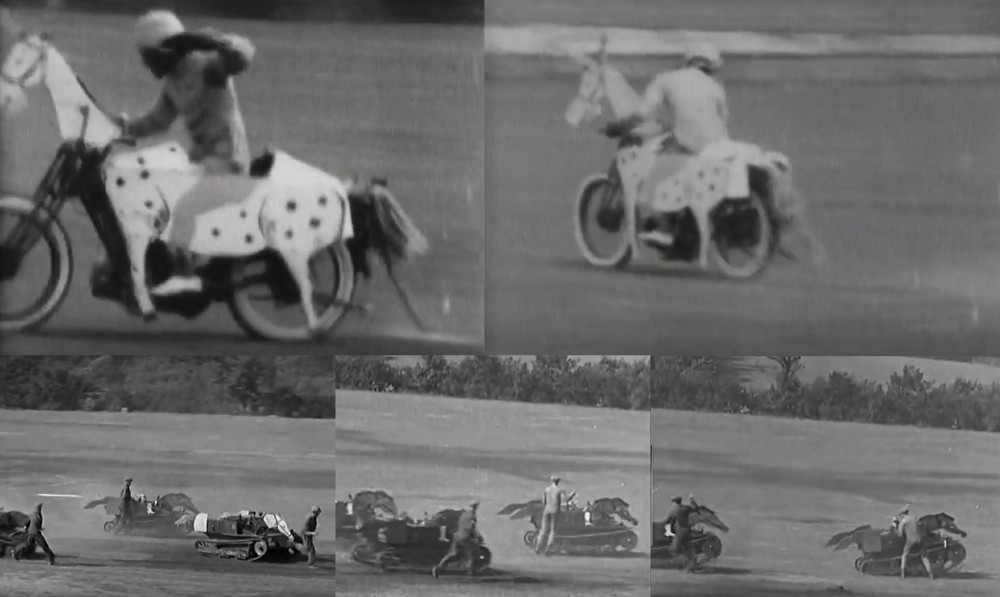"""А уж """"маскировка"""" мотоциклов или танкеток под лошадей была вообще общим местом. Не иначе на случай ведения боевых действий на ипподроме."""