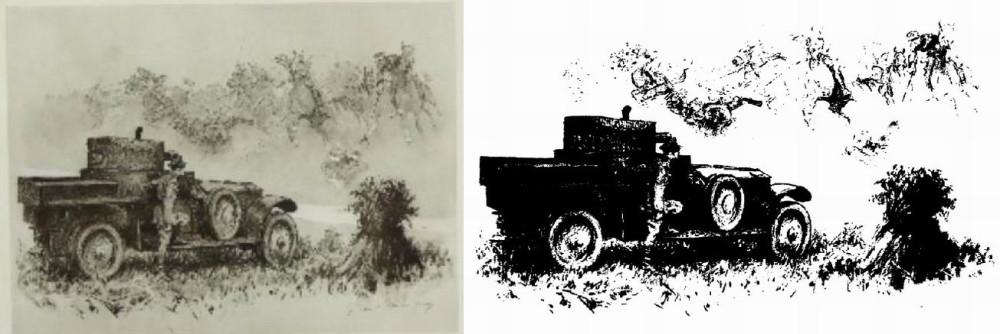 """На рисунке в полковой истории художника Гилберта Холидея """"Дух все тот же"""" изображен именно """"Ланчестер"""". Качество плохое, к сожалению, но смысл понятен - броневик на фоне призраков кавалерийской атаки."""