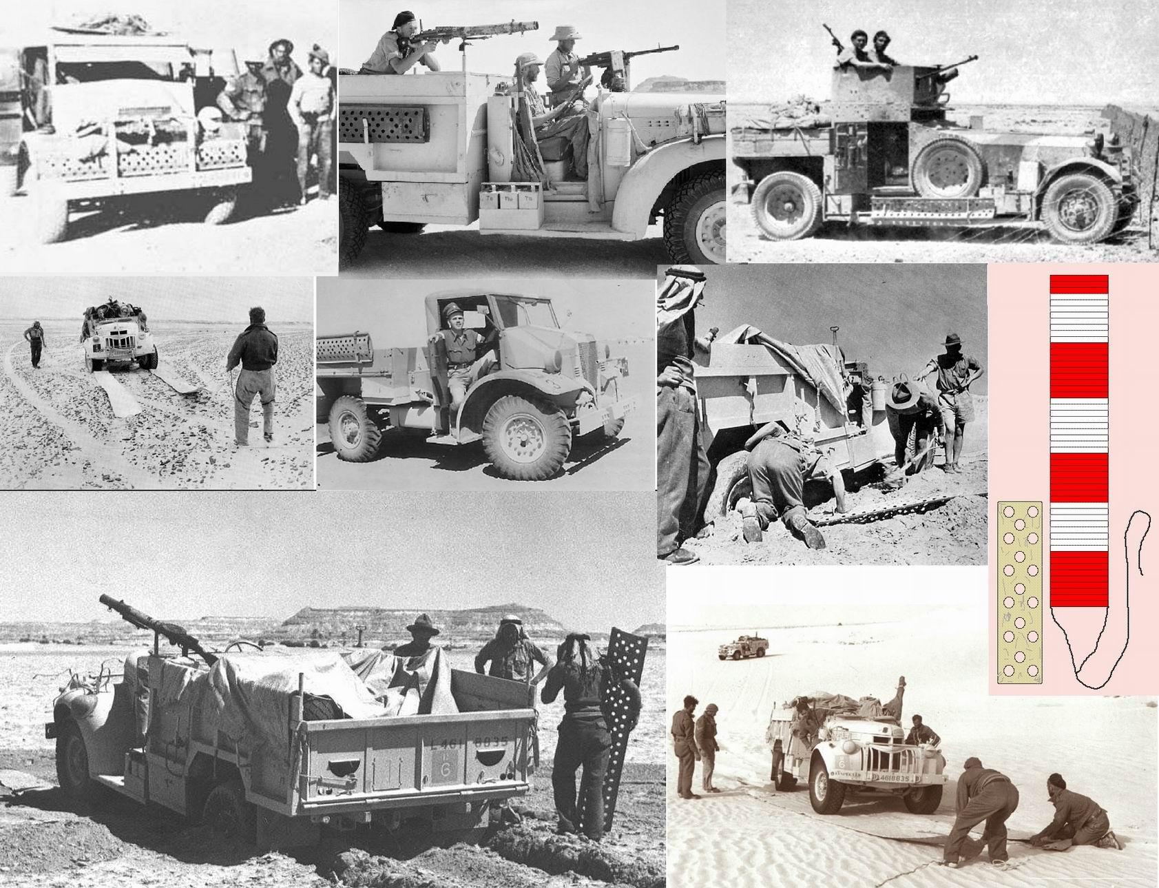 Настилы и маты для песка входили в комплект самовытаскивания и видны на многих фотографиях Северо-африканской кампании. С металлическими настилами понятно, а маты делали из крепкой парусины-канваса, часто одна сторона была песочного (или в цвет машины) цвета, а другая - красно-белая для быстрой идентификации с воздуха.