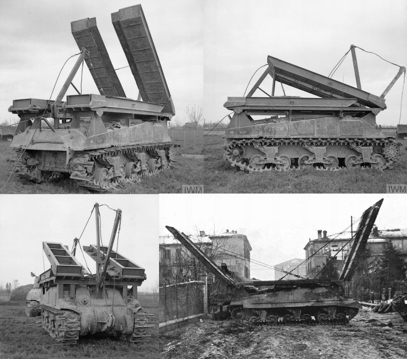 """""""Шерман Тваби"""", Италия, апрель 1944г. Справа внизу - мостовой танк 28го штурмового эскадрона 2й Новозеландской дивизии. Позже Инголл """"проедется"""" по новозеландцам в своих мемуарах, но возможно именно этим танком он воспользовался при форсировании Сенио."""