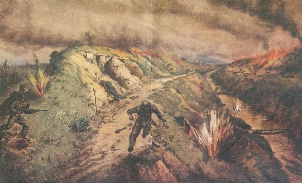 8я индийская дивизия форсирует реку Сенио, апрель 1945г. Эта картина приводится и в книге Инголла, и в дивизионной истории.