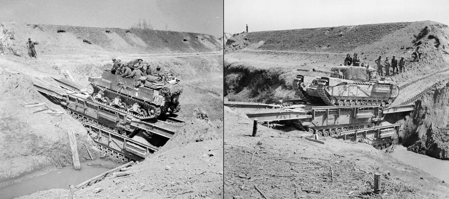 """Форсирование реки Сенио по мосту из двух специализированных """"Черчиллей"""", 10 апреля 1945г. Картина выше и фото здесь хорошо показывают местность - река, насыпи вдоль берегов и проходы, сделанные в них."""