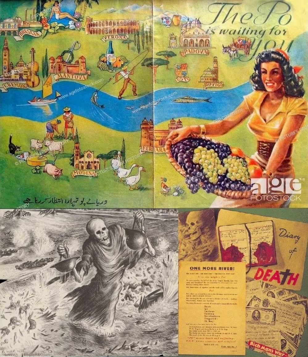 Немецкая пропаганда, запугивающая союзных, в том числе индийских, солдат рекой По. Вверху  и слева внизу разные стороны одной листовки.