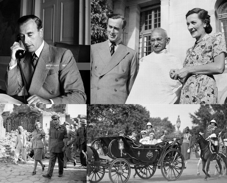 Вице-король лорд Маунтбеттен в своем дворце, 9 июля 1947г. Лорд Луис, леди Эдвина и Махатма Ганди, 1947.