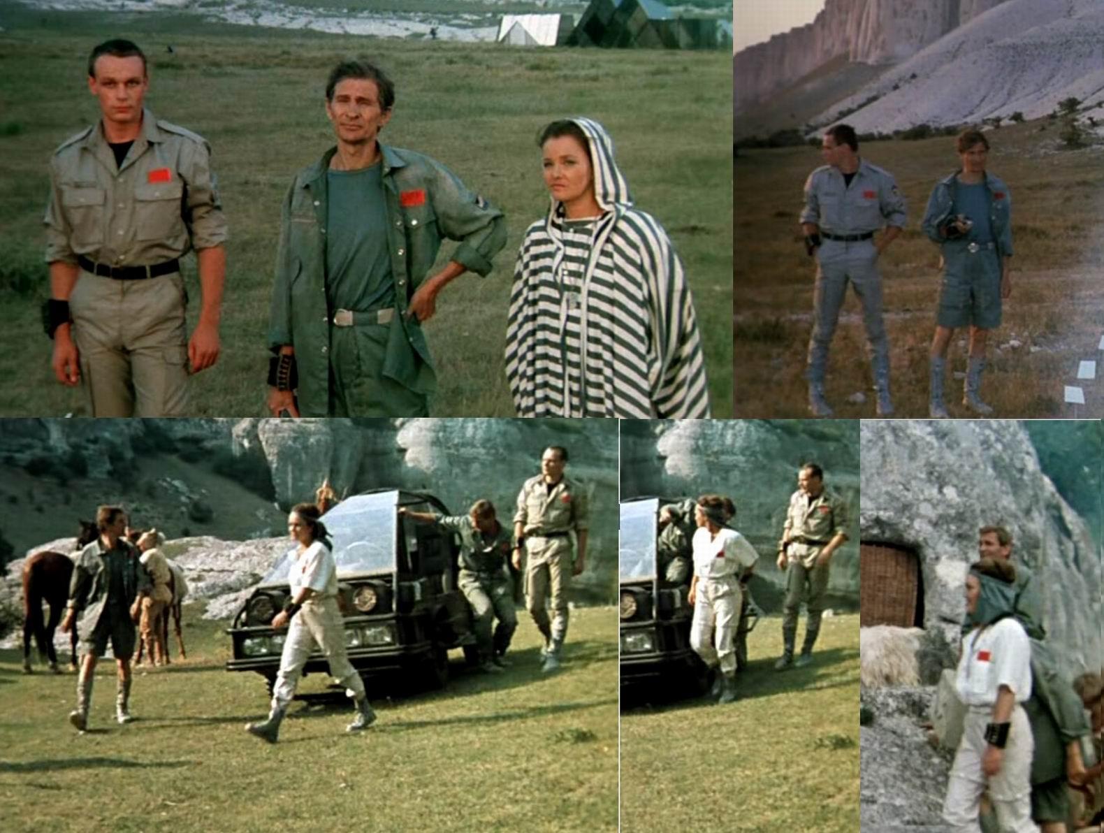 Цвет их одежды маскирует в тех условиях, хотя они и не военные. Различные виды рубашек. Шорты. Брюкошорты на кнопках у женщины. Назатыльник.