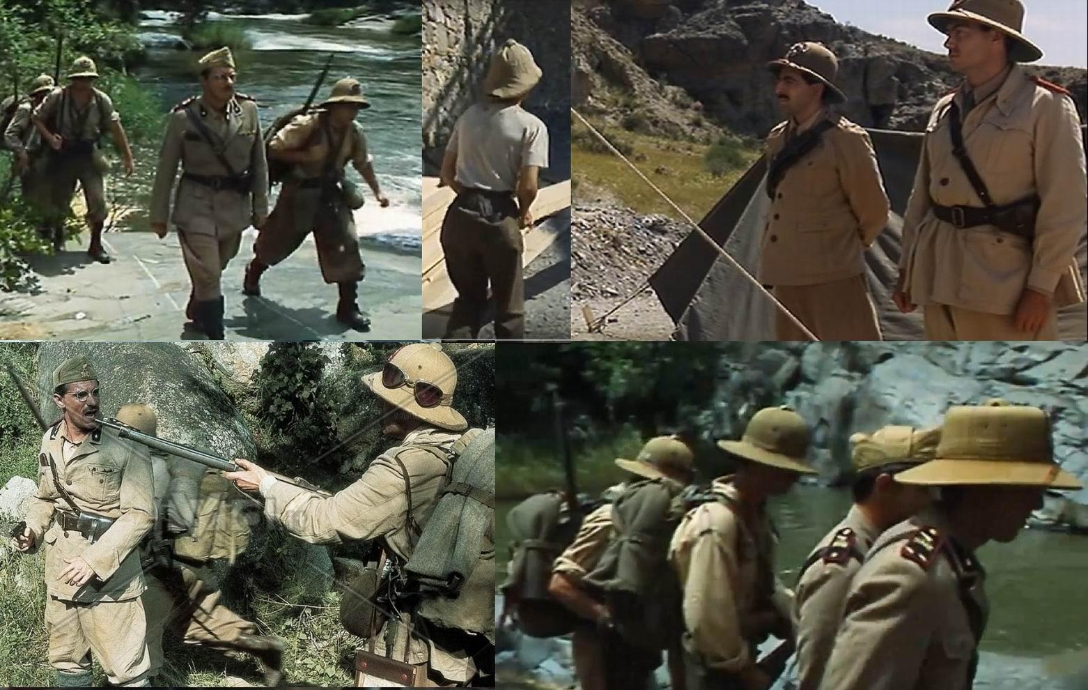 Хорошо видна разница между солдатскими и офицерским тропическими шлемами.