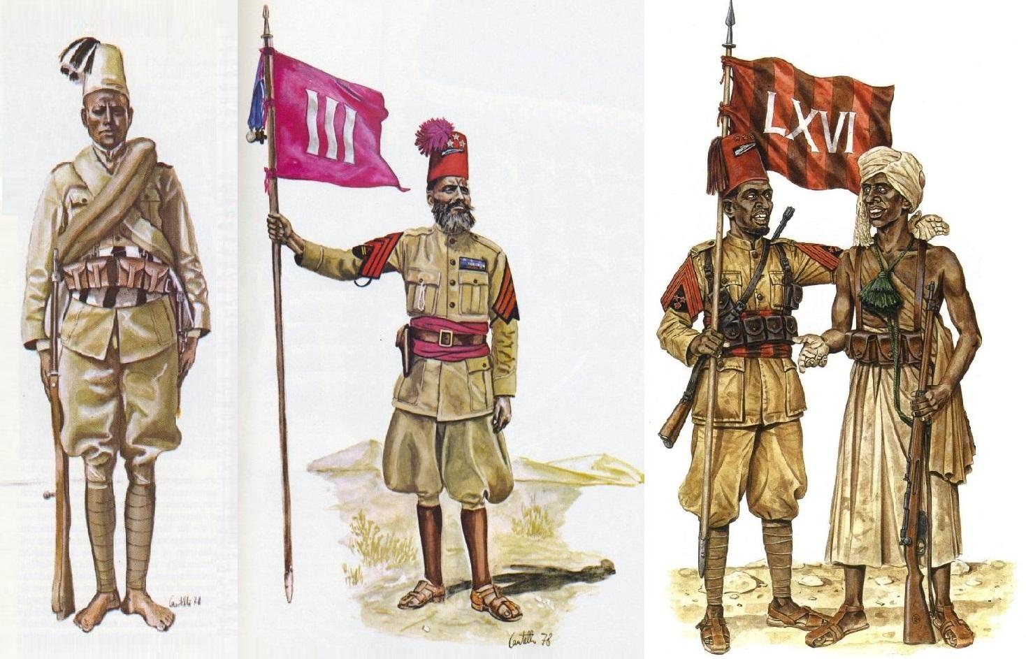 Аскари 17го эритрейского батальона в полевой форме. Шумбаши 3го эритрейского батальона, меткий стрелок, два ранения, 10 лет службы. Юзбаши 66го батальона, тоже меткий стрелок, 6 лет службы, и Вождь-командир (зеленый шнур) дубатов.