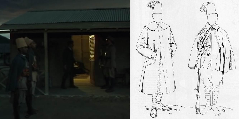 Серо-зеленое пальто носили только артиллеристы, остальные – короткую накидку, что и показано в фильме на пехотных часовых.