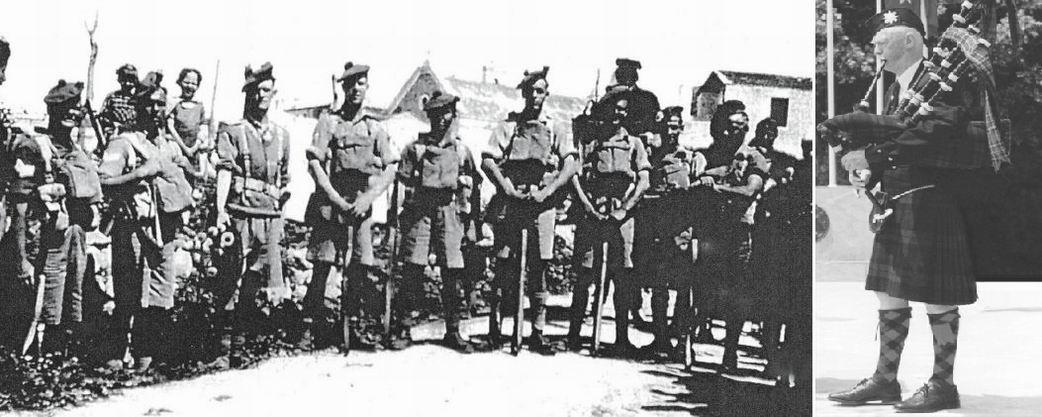 Черная Стража в Ираклионе, незадолго до вторжения, 1941г. Билл Ларк 3й слева. Справа - Билл Ларк на 60й годовщине битвы, Ираклион, 2001г.