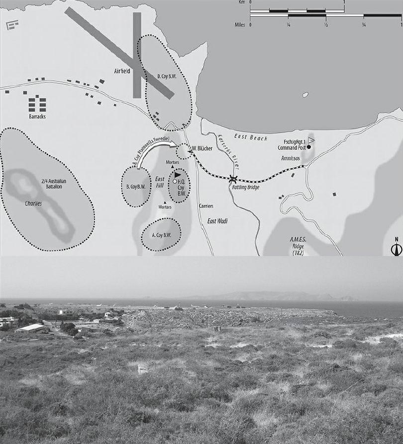 Схема местности и современное фото того места. Хорошо виден аэропорт Ираклиона.