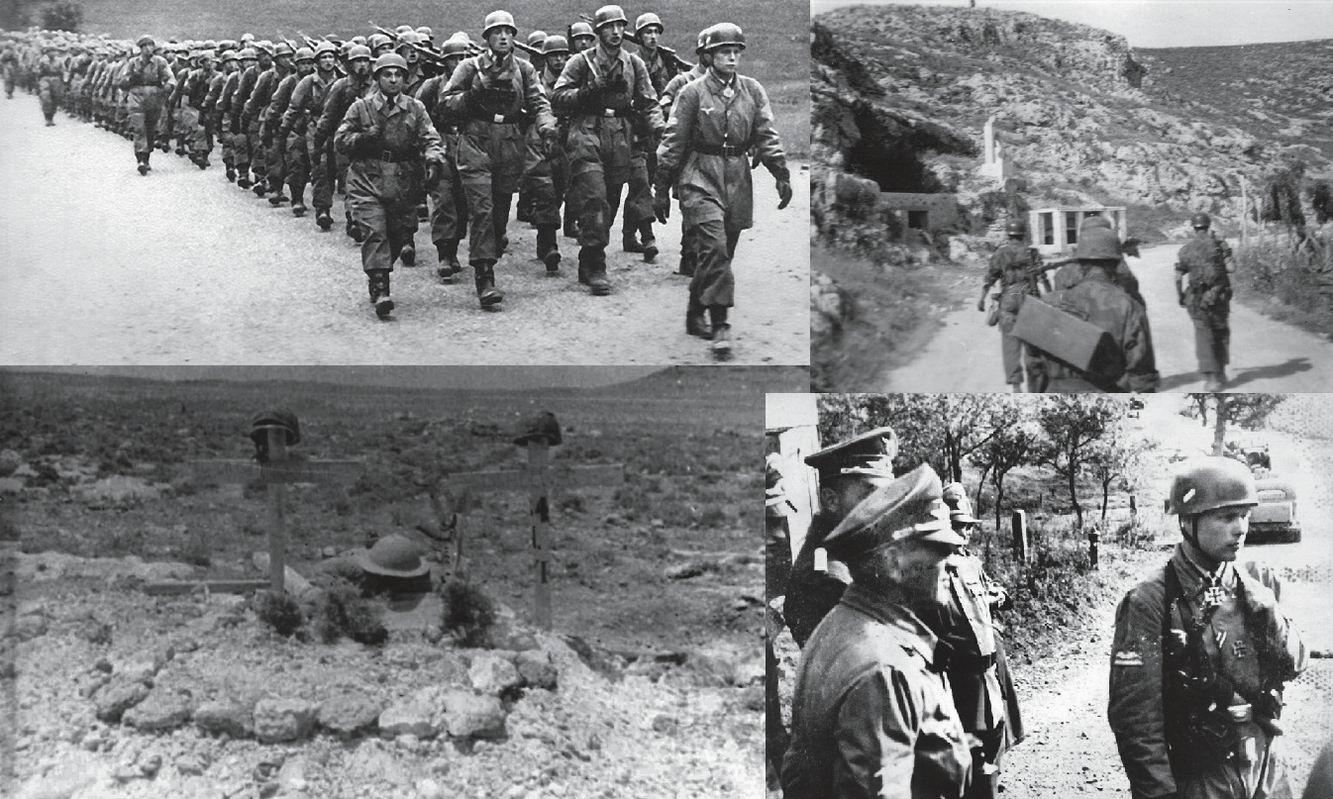 Вверху слева и внизу справа - учения после Голландии - лейтенант Блюхер во главе своего взвода. Два великана впереди -Голлвек и Мёллер, оба погибнут на Крите. Вверху справа - подъем с дороги на холм. Внизу слева - первоначальная могила Блюхера и Голлвека, возможно это была шотландская стрелковая ячейка, ее остатки сохранились и доныне. Бруно Бройер - на нижнем правом фото слева - за военные преступления на Крите будет казнен в 1947г.