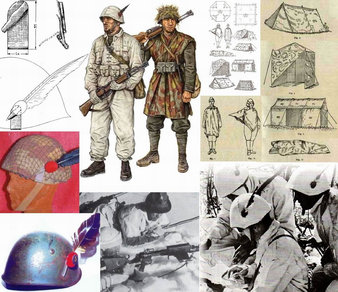 Перья носились даже на стальной каске. Первоначально слева приваривался держатель, в 1940г. ввели более удобную портапенну, накладку на пружине, которую можно было прикрепить к любой каске. Перья носились даже на камуфляжных чехлах, и после войны. Кстати про камуфляж. Рядом со старинными традициями соседствовали современные, зачастую опережавшие свое время, вещи. Например- камуфлированная накидка-тент-палатка. Рисунок камуфляжа 1929г. продержался до 1990х г. Самый продолжительно использовавшййся в мире. В фильме он в виде свертка приторочен на ранцы солдат.