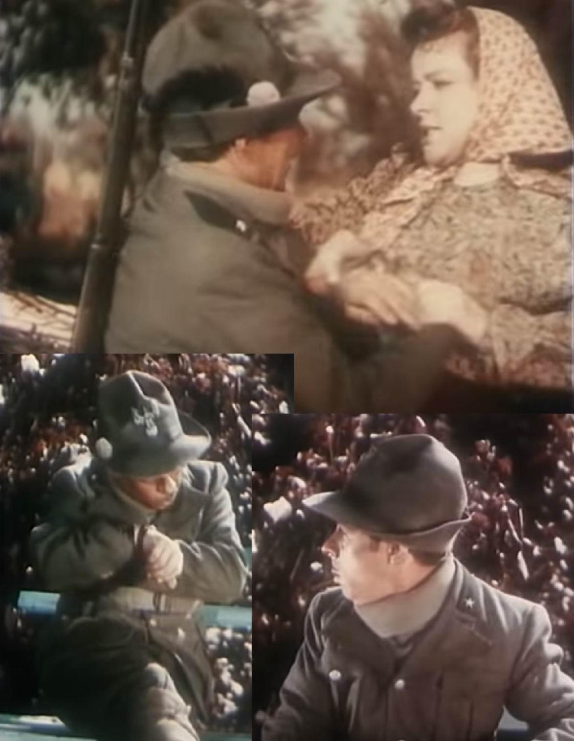 В советском кинематографе альпийский стрелок есть в фильме 1944г. «Иван Никулин - русский матрос». Формально в форме незадачливого часового все соблюдено – есть шляпа, орел на ней, перо, наппина, зеленые петлицы с белой звездой, но ...
