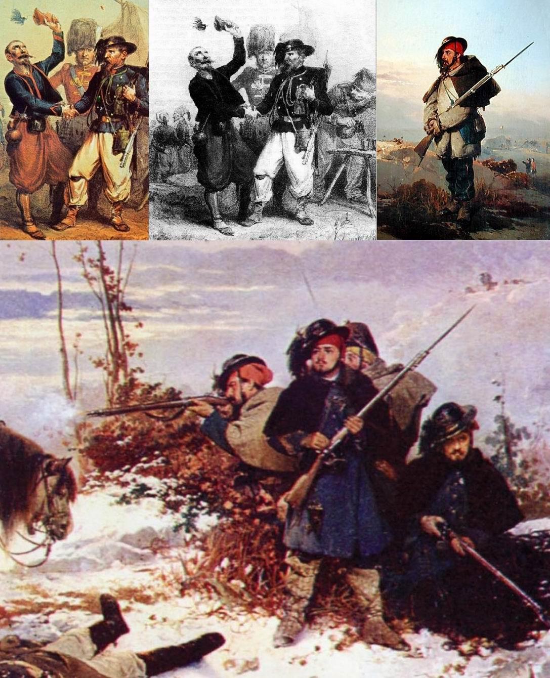 Вверху слева и по центру - изображение классической легенды - зуав дарит шешию. На картинах видно реальное ношение фесок или шапочек под шляпой, для тепла.