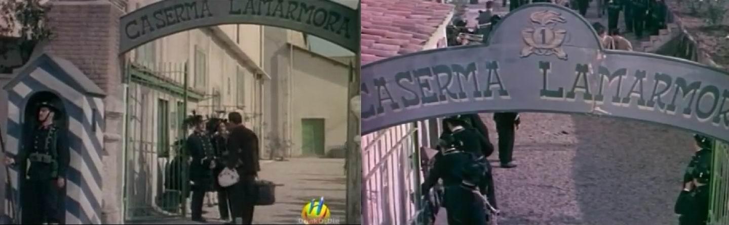В фильме указано конкретное место –казармы Ламармора и несколько раз называется часть – 1й батальон 1го полка берсальеров.
