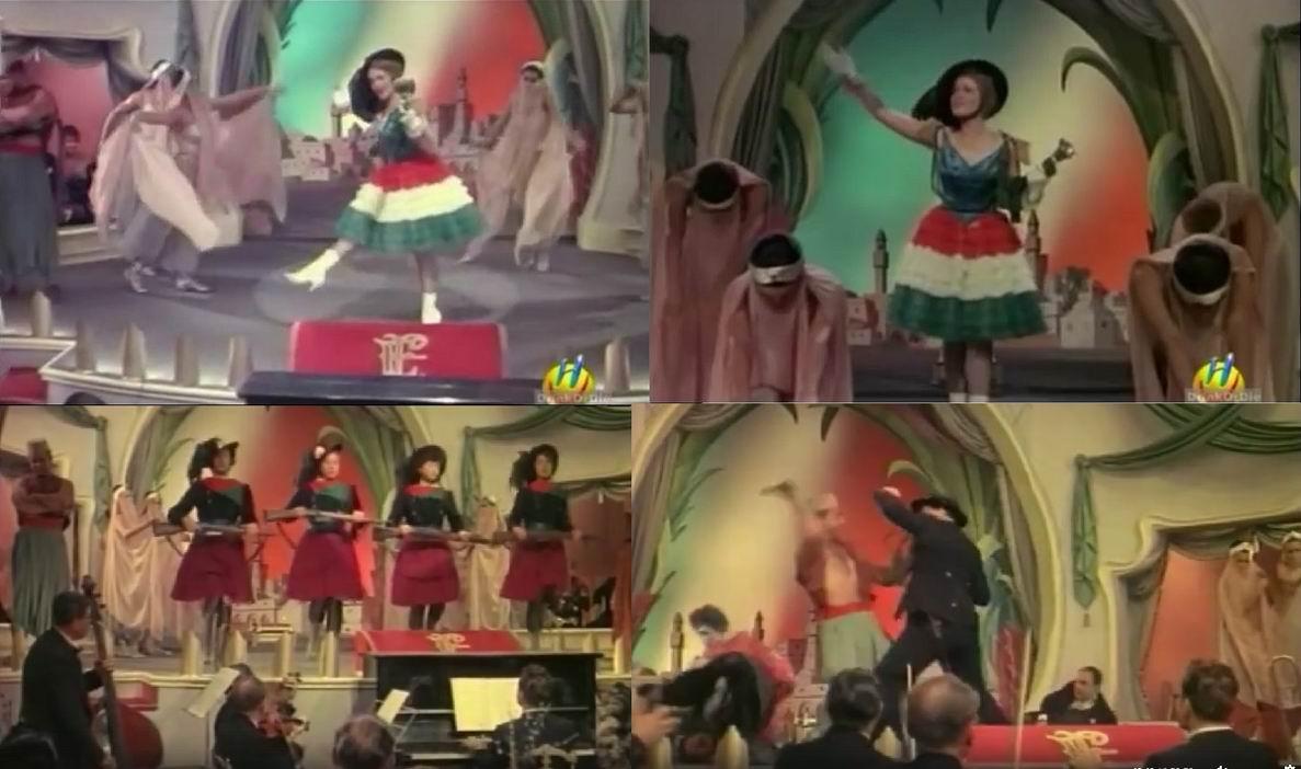 """Италия-Надя одета в юбку национальных цветов и берсальерскую шляпу. Во втором акте девушки красиво выбегают в берсалье же и с карабинами в руках, это вам не канкан какой-нибудь. В общем вкусы и дух """"до-ПМВ"""" переданы хорошо."""