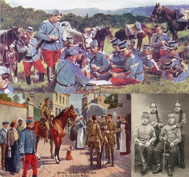 Слева внизу очень характерная открытка 1914г. Королевские дублинские фузилеры во Франции, а на переднем плане как раз конный егерь. Фактически, встреча прошлого и настоящего.