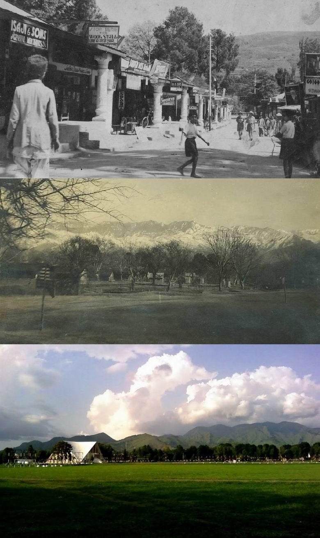 Абботтабад, до 1947г., Абботтабад, место неподалеку от клуба полка, 1930е гг., современная фотография стадиона Академии в Какуле.