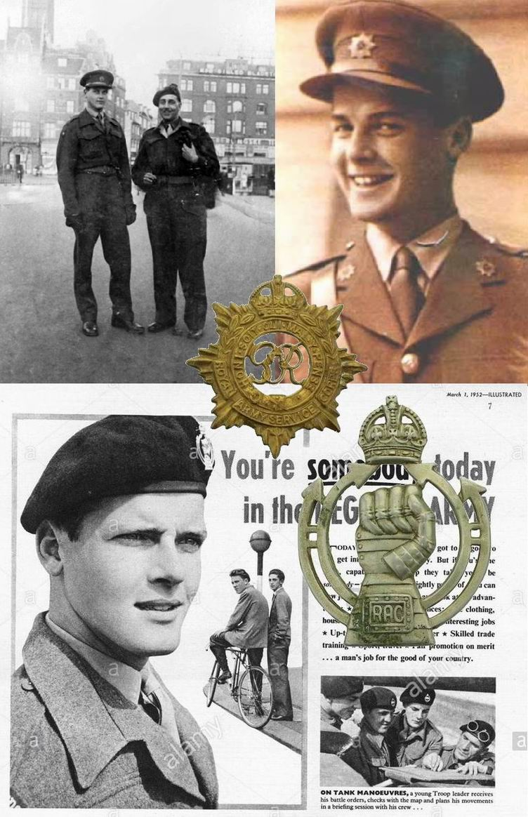 Вверху- Р.Мур, офицер RASC. Внизу Мур на вербовочном плакате в берете Королевского бронетанкового корпуса.