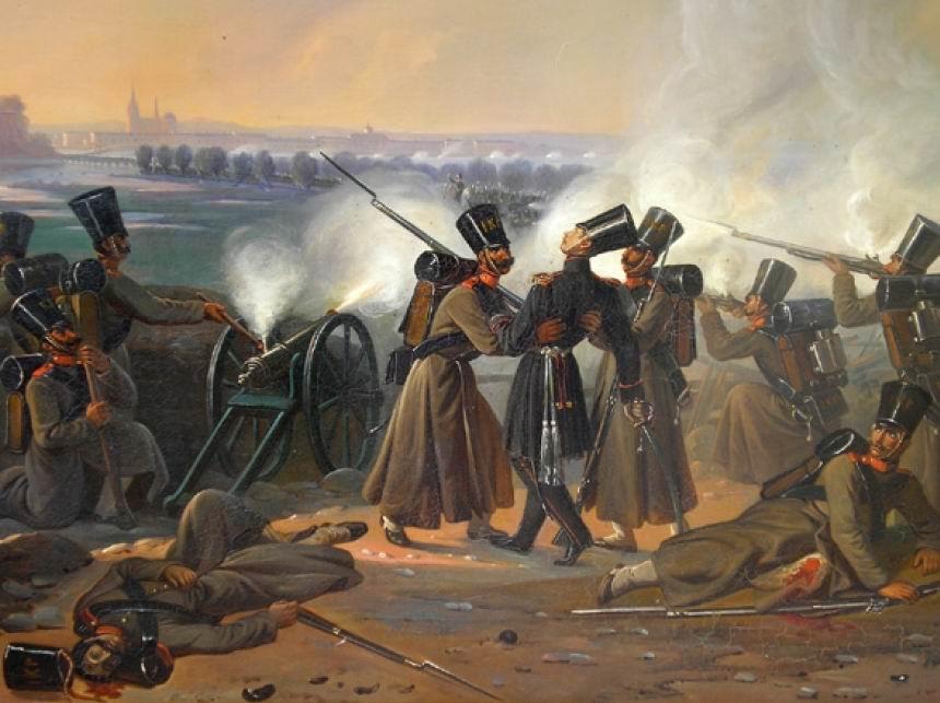 Ранение поручика Лейб-Гвардии Финляндского полка Адольфа Аминова в битве при Тыкоцине, 1831г.