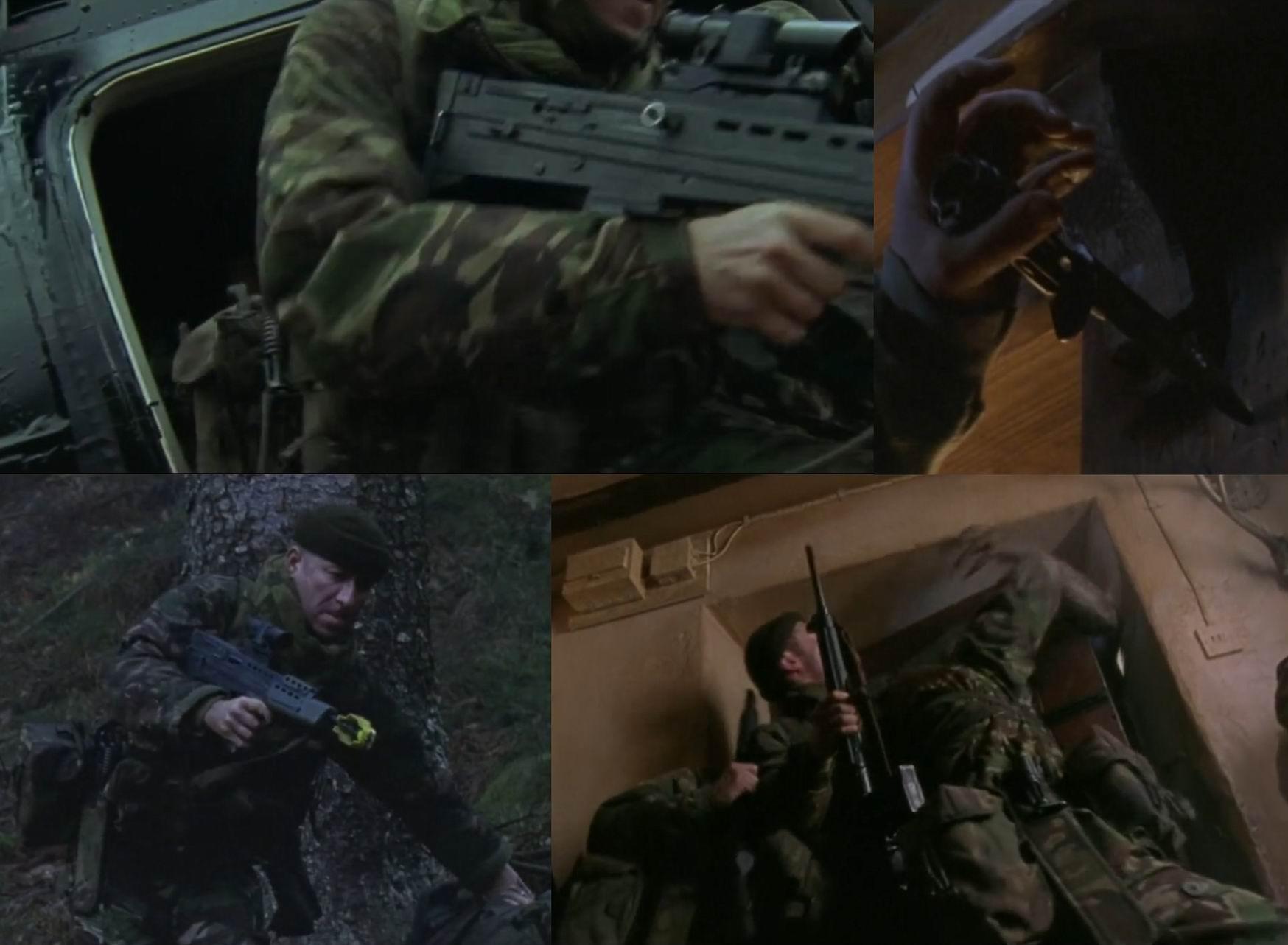 Штык L3А1 надевается полой рукояткой на ствол (для этого и щели, как у ДТК). В фильме солдаты носят его на поясе и активно используют в рукопашных с оборотнями.