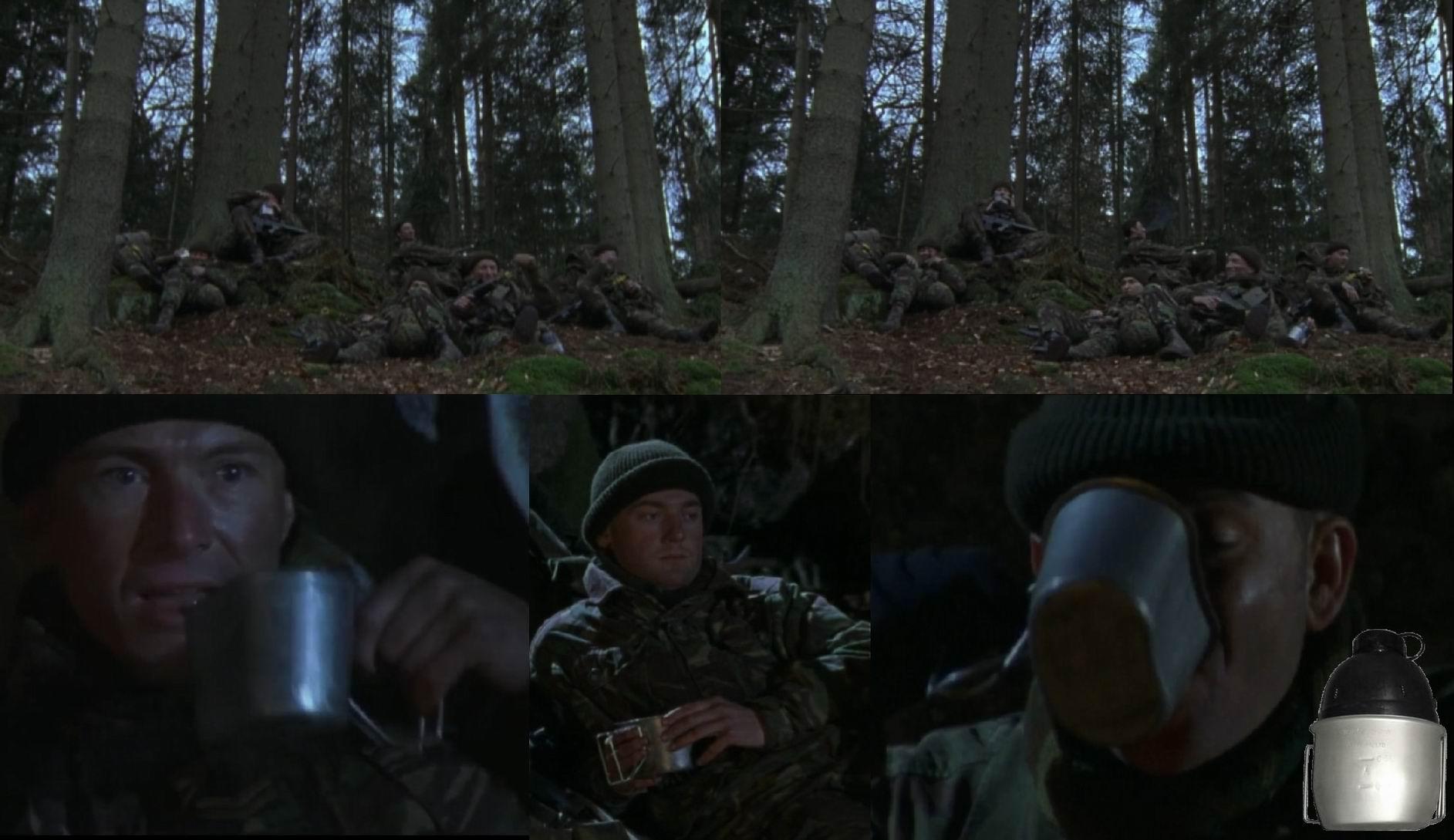 В то время как все солдаты в фильме имеют металлическую кружку. Это удобнее (можно подогревать на открытом огне), и характерно для ВДВ и войск Спецназначения (официально введено в 1992г.. на практике появилось раньше).