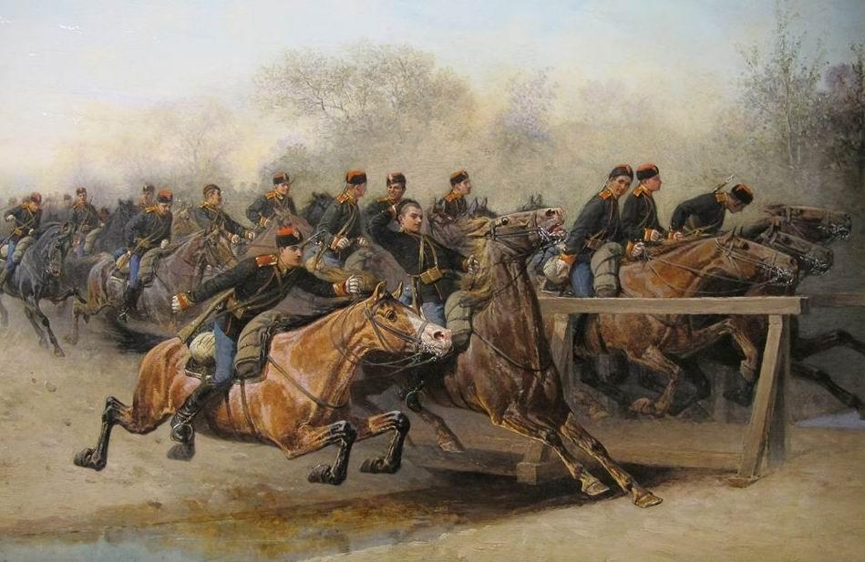 Худ. И.П. Прянишников, Николаевское кавалерийское училище на маневрах, 1888г.