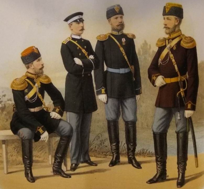 Драгунские офицеры 1882г. Справа бывшие гусары - Павлоградец и Ахтырец.