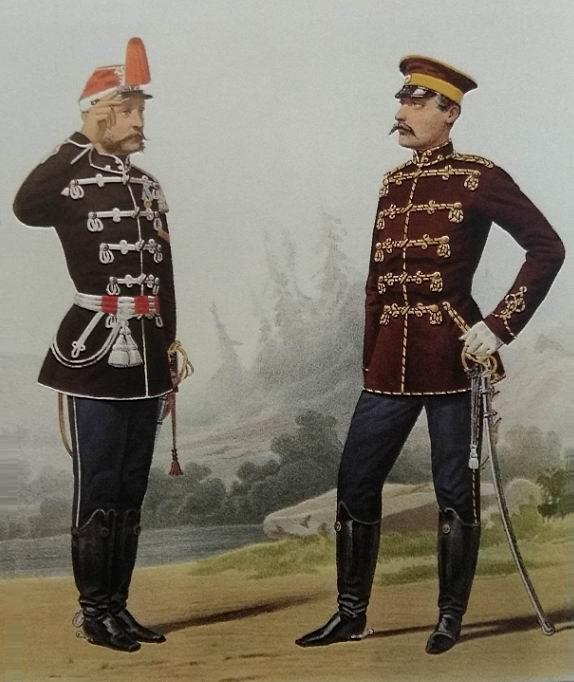 Трубач 5го гусарского Александрийского и обер-офицер 12го гусарского Ахтырского полка, 1869г.