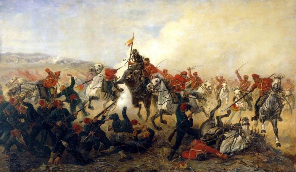 Худ. В.В. Мазуровский. Дело лейб-гвардии Гусарского полка при селении Телише в 1877 году, 1888г.