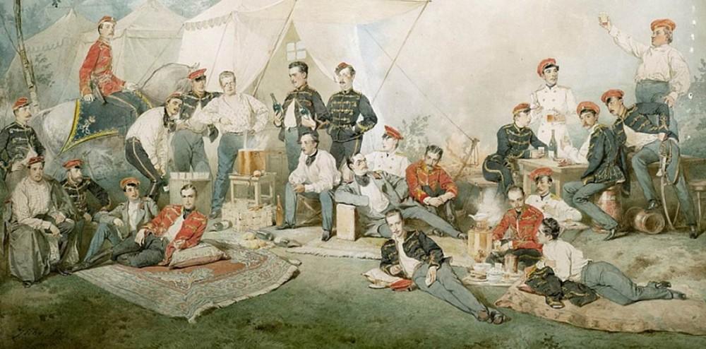 """Худ. М. Зичи """"Гусарская пирушка"""", 1871г."""