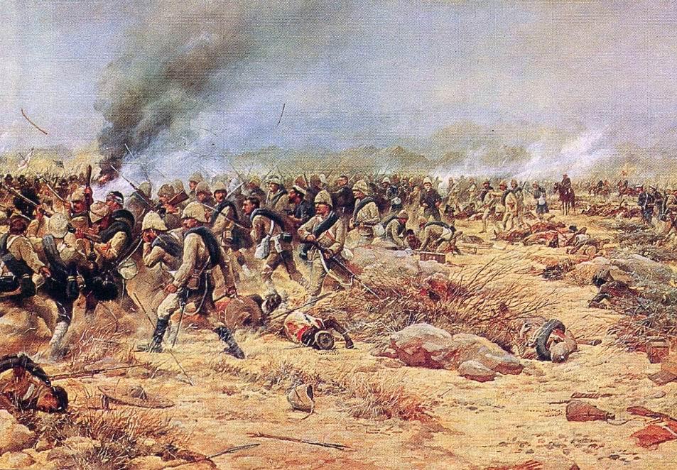 Худ. Г.Д. Джайлс. 1й батальон Йоркского и Ланкастерского полка и 1й батальон Черной Стражи контратакуют в битве при Тамаи, 1884г.