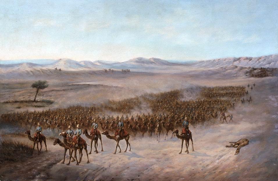 Колонна генерала Стюарта пересекает пустыню Байуда, 1885г.
