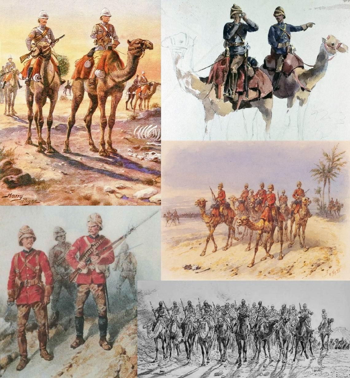 Слева вверху - Легкий Верблюжий полк, худ. Г. Пэйн, справа вверху и в центре - Верблюжий корпус, худ. О.Нори, слева внизу - Гвардейские гренадеры в Судане, худ. О.Нори, внизу справа - Пустынная колонна, худ. леди Батлер.