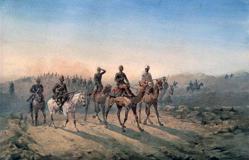 Худ. О.Нори, Верблюжий корпус и 19й гусарский полк.