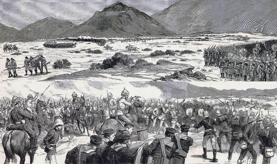 Битва при Тамаи, март 1884г. Вверху - видны два бригадных каре и скачущие между ними два журналиста. Внизу - оборона второй бригады, ее каре будет прорвано, полки отступят.