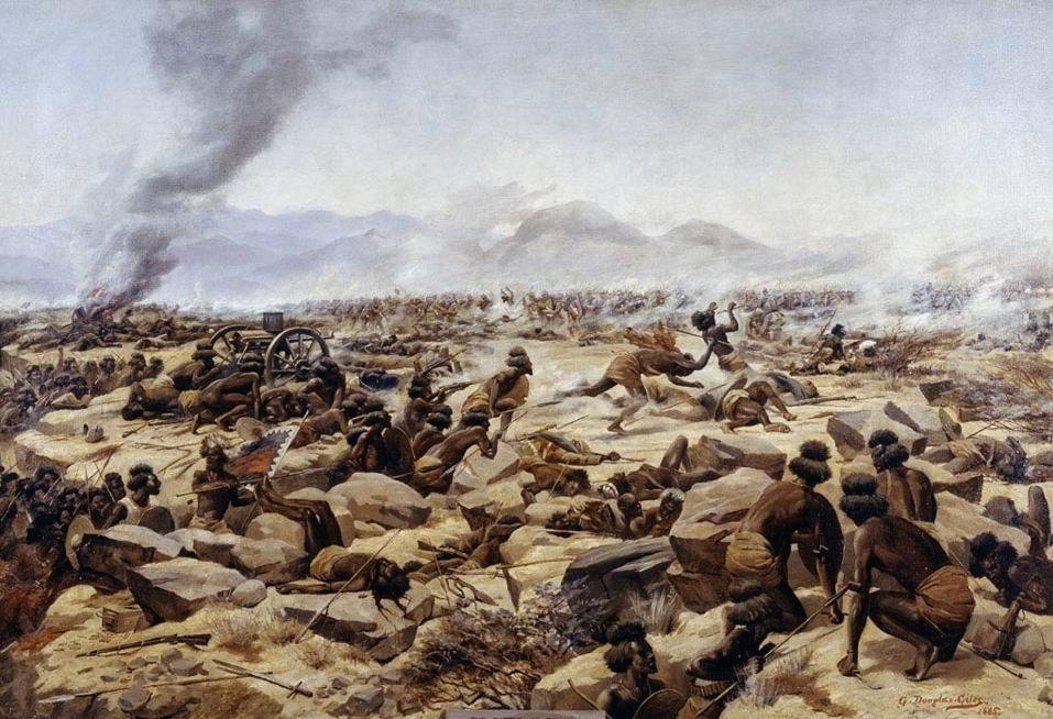 """Худ. Г.Д. Джайлс - сам участник битвы. """"Битва при Тамаи, Суданская кампания, 1884г."""", 1885г. Изображен момент, когда потесненная вторая бригада контратакует, чтобы вернуть потерянные картечницы."""