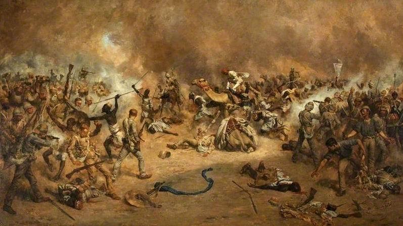 "Худ. Ч.Э.Фрипп ""Зариба МакНейла, Тофрек, 1885г."" Изображен 1й батальон Беркширского полка."