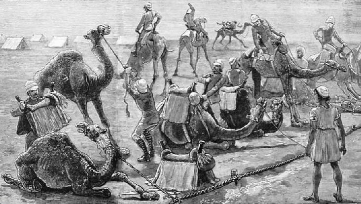 Один из первых смотров верблюжьих частей, 1884г.