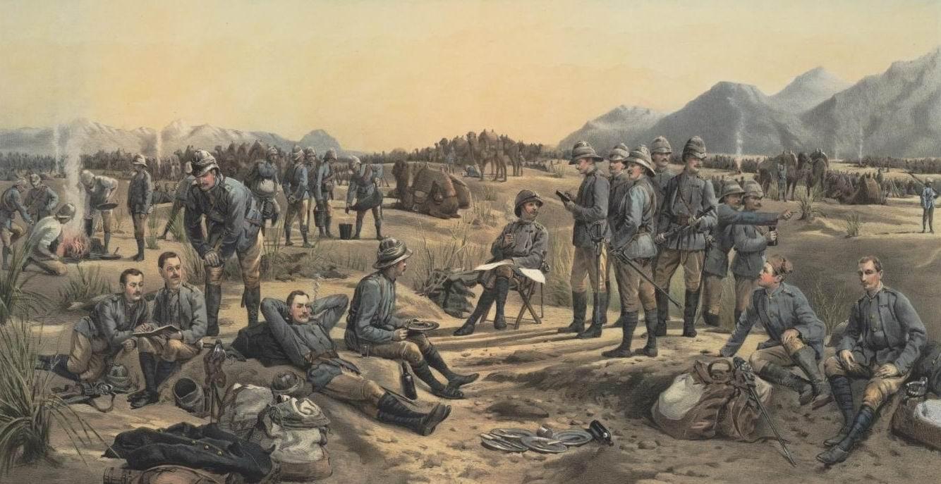 Королевская морская легкая пехота Гвардейского верблюжьего корпуса, Судан, 1885г. На другом варианте этой же картины попоны верблюдов и феска сидящего второго справа офицера - красные.